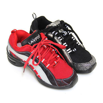 【GREEN PHOENIX】魔力經典輕量流線爆裂紋異材質拼接綁帶氣墊排舞鞋-紅色、黑色