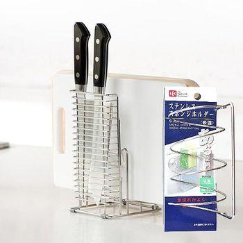 【特惠組】日本LEC不鏽鋼兩用式砧板刀具+3格菜瓜布吸盤架