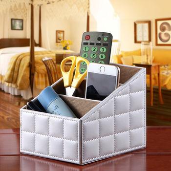 【幸福揚邑】精品歐式方格紋皮革遙控器化妝品飾品三格桌面收納盒-經典白