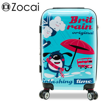 【Zocai佐卡依】英倫時雨 20吋PC超輕量可加大鏡面旅行箱/登機箱