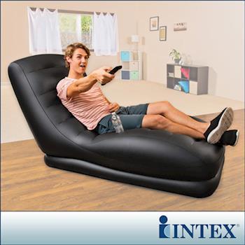 【INTEX】黑色潮流單人加長充氣沙發椅 (68585)
