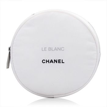 CHANEL 香奈兒 圓形白色時尚化妝包 (直徑11cm)