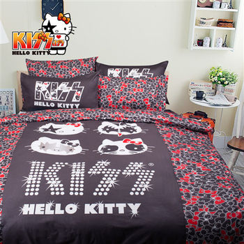 Kiss Hello Kitty 精梳棉 搖滾 黑 床包 加大