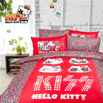 Kiss Hello Kitty 精梳棉 搖滾 紅 床包兩用被組 加大