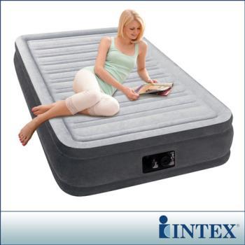 【INTEX】豪華型橫條內建電動幫浦充氣床-單人加大-寬99cm (67765)