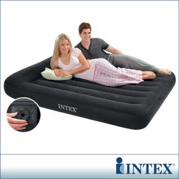 【INTEX】舒適型內建電動幫浦充氣床墊-雙人寬137cm-有頭枕 (66776)