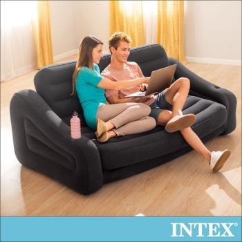 【INTEX】二合一雙人超大充氣沙發床(黑色) 2016年新款 (68566)