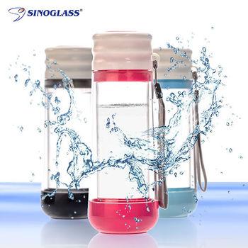 【2入組-美國Singlass】創意雙層耐熱玻璃隨身瓶(粉、灰、藍)-行動