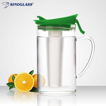 【美國SINOGLASS】1000ML 冷熱兩用玻璃水壺 (綠色/白色)