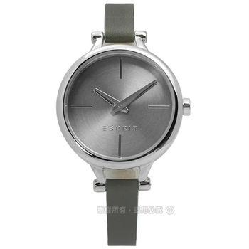 ESPRIT / ES109102005 / 簡約典雅細緻真皮腕錶 銀x深灰 32mm