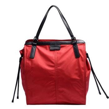 BURBERRY 經典LOGO壓紋真皮飾邊抽繩尼龍手提購物包(小-軍紅色)