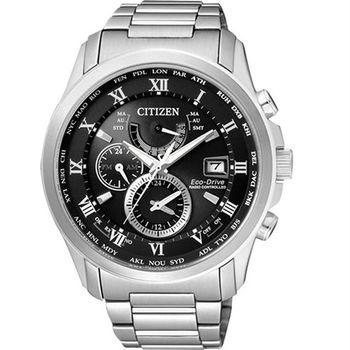 CITIZEN 霸王世界光動能電波時尚萬年曆腕錶-黑-AT9080-57E