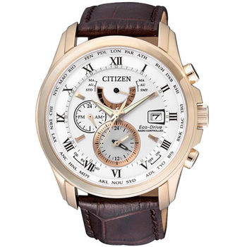 CITIZEN 霸王世界光動能電波時尚萬年曆腕錶-玫瑰金-AT9082-01A