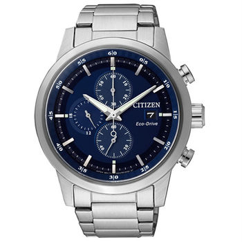 CITIZEN Eco-Drive 不老頑童時尚優質三眼腕錶-藍-CA0610-52L