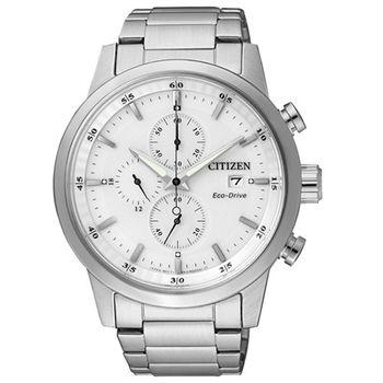 CITIZEN Eco-Drive 不老頑童時尚優質三眼腕錶-白-CA0610-52A