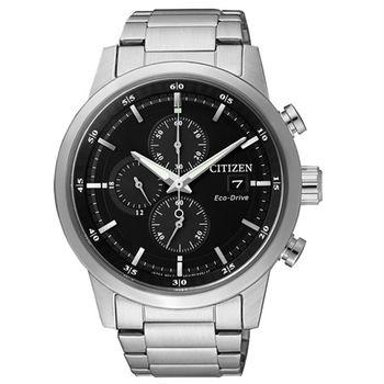 CITIZEN Eco-Drive 不老頑童時尚優質三眼腕錶-黑-CA0610-52E
