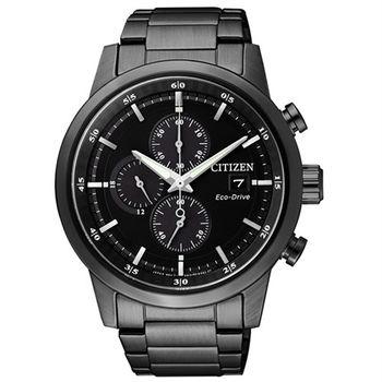 CITIZEN Eco-Drive 不老頑童時尚優質三眼腕錶-全黑-CA0615-59E