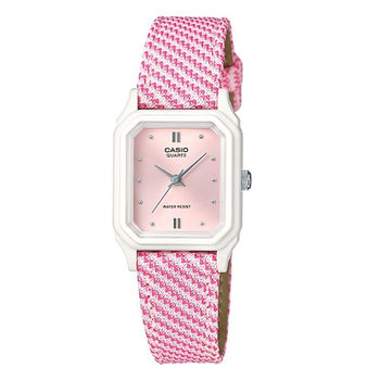 CASIO 碎花菱格紋指針式時尚小巧腕錶-粉紅-LQ-142LB-4A2