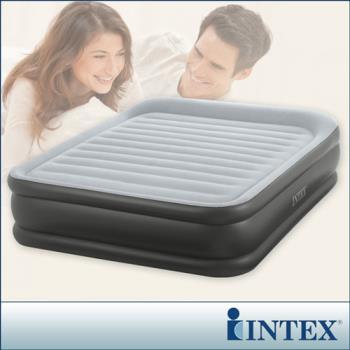 【INTEX】豪華三層圍邊-雙人加大充氣床-寬152cm (內建電動幫浦)