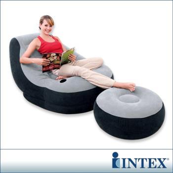【INTEX】《懶骨頭》單人充氣沙發椅附腳椅-灰色 (68564)