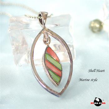 【HEMAKING】純銀天然彩貝殼項鍊(綠)