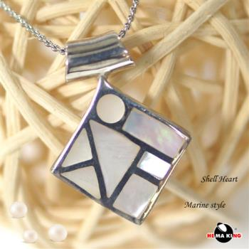 【HEMAKING】純銀天然貝殼菱形項鍊