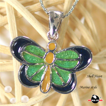 【HEMAKING】純銀天然貝殼蝴蝶項鍊(綠)
