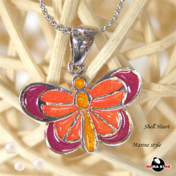 【HEMAKING】純銀天然貝殼蝴蝶項鍊(橘紅)