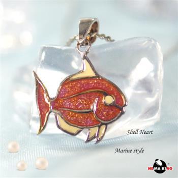 【HEMAKING】純銀天然貝殼小魚項鍊(紅)