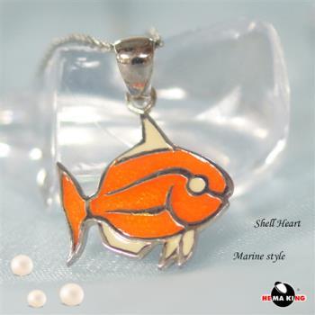 【HEMAKING】純銀天然貝殼小魚項鍊(橘)