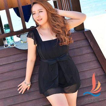 SANQI三奇 加大尺碼泳衣 魅力氣質連身泳裝(黑3L~5L)