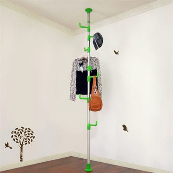 【LIFECODE】春樹頂天立地多用途衣帽架/包包架 -果綠色