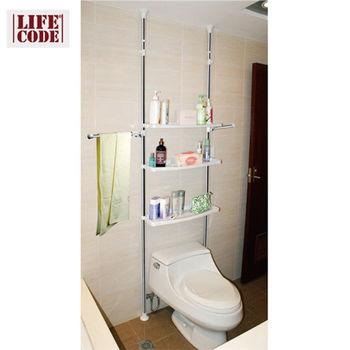 【LIFECODE】機能王-浴室置物架/馬桶架/洗衣間置物架(免施工免工具)【贈送-廚房防污貼紙】