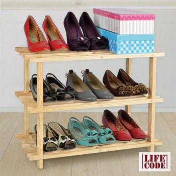 【LIFECODE】極簡風-免螺絲黃松木四層鞋架/組合鞋架