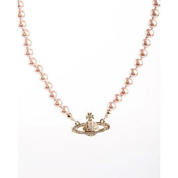 【Vivienne Westwood】星球優雅珍珠晶鑽項鍊(玫瑰金色)