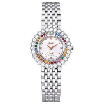Ogvial 瑞士愛其華-翡麗薔薇真鑽時尚腕錶(名媛銀)380-012DLW