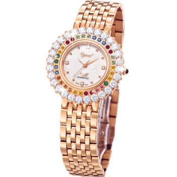 Ogvial 瑞士愛其華-翡麗薔薇真鑽時尚腕錶(貴族金)380-012DLR