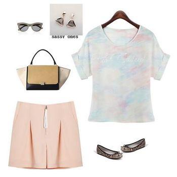 (現貨+預購 RN-girls)-夏日渲染風格透氣短袖短褲套裝