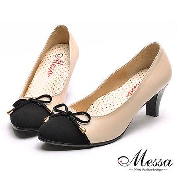 【Messa米莎專櫃女鞋】MIT好女人百搭款蝴蝶結綴飾內真皮中跟包鞋-米色