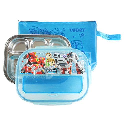 【SuperBO】不鏽鋼多格餐盤(收納蓋款) TOBOT機器戰士