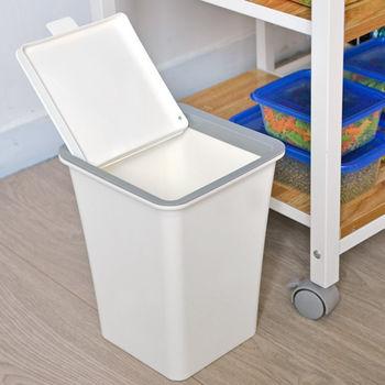 日本MAKINOU 簡約無印風上掀蓋式5.6L垃圾桶