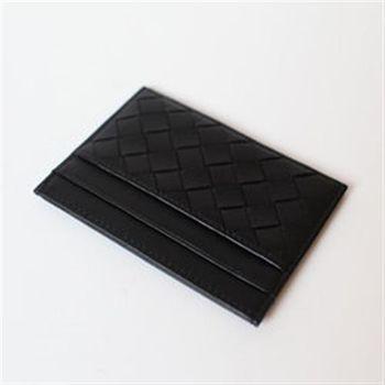 【WELLCUT】義大利牛皮手工編織卡片夾/名片夾-黑色