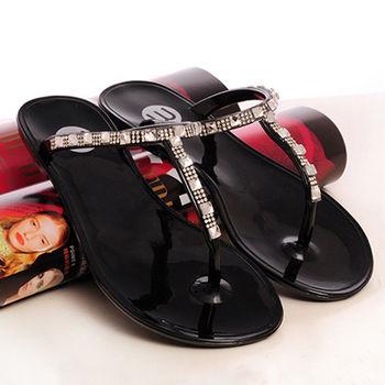 【Alice 】文藝女鞋T型水晶果凍2WAY雨鞋通勤平底鞋