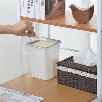 日本MAKINOU 簡約無印風上掀蓋式2.4L垃圾桶