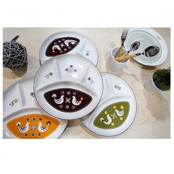 日本 Izawa 小鳥圖騰分隔瓷盤 - 共3色