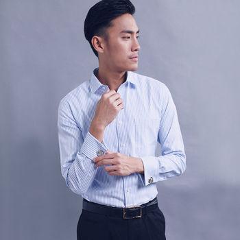 【WELLCUT】英倫紳士袖扣款長袖襯衫(藍條紋)