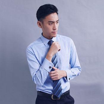 【WELLCUT】英倫紳士袖扣款長袖襯衫(藍)