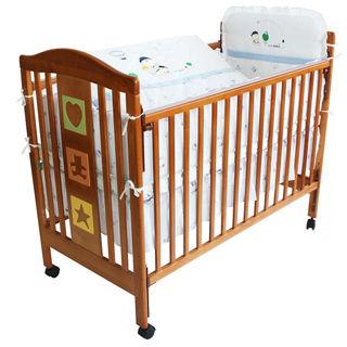 【美國 L.A. Baby】維吉尼亞嬰兒中床-優惠組合(嬰兒床+100%純棉七件式嬰兒寢具組)