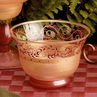 【Madiggan貝斯麗】塔斯卡尼系列手工彩繪開運玻璃燭杯(金紅.金綠可選)