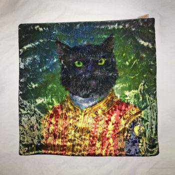 【協貿】奢華復古棉絨布料帥氣貓咪沙發方形抱枕含芯